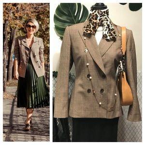 Tahari classic Brown plaid double breasted blazer